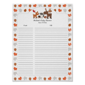 Woodland Animal Baby Shower Gift List / guest list Poster