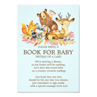 Woodland Animals Baby Shower Book for Baby Card