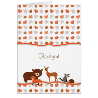 Woodland Animals Baby Shower Thank You Note Card