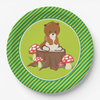 Woodland Animals | Brown Bear Paper Plate