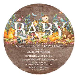 Woodland Animals Neutral Baby Shower Invitation