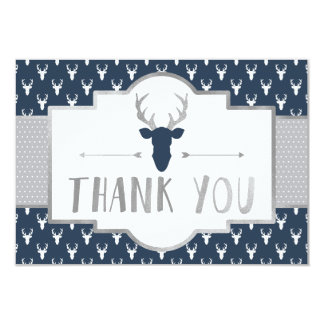Woodland Antlers Thank You Card, Faux Foil Card