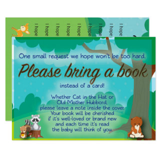 Woodland Baby Shower Book Request & Wishes Insert Card