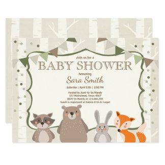 Woodland Baby Shower invite Animals Forest Neutral
