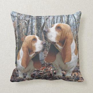 Woodland Basset Hounds Cushion