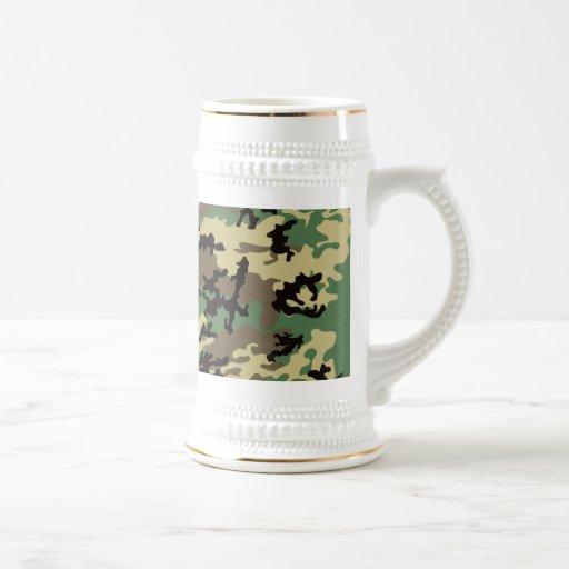Woodland Camo Beer Stein Coffee Mugs