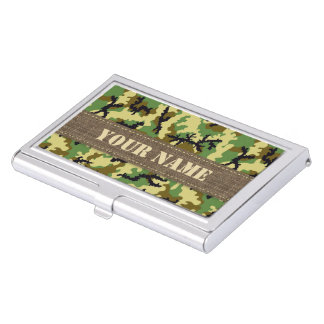 Woodland camouflage business card holder