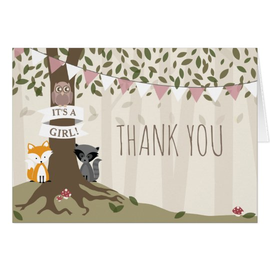 Woodland Creatures Girl Baby Shower Thank You Card
