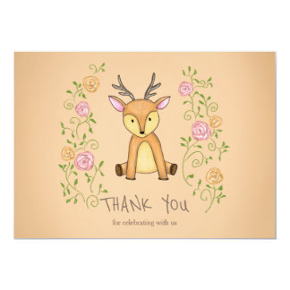 Woodland Deer Flowers Baby Shower Thank You Card