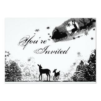 Woodland Deer & Santa Christmas Baby Shower Invite