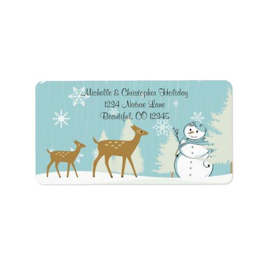 Woodland Deer with Snowman Winter Address Label