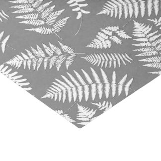 Woodland Fern Pattern, Grey / Grey and White Tissue Paper
