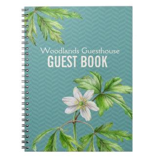 Woodland floral art & chevron guest book notebook