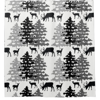 Woodland Forest Animals Deer Fawn Rustic Mountains Shower Curtain
