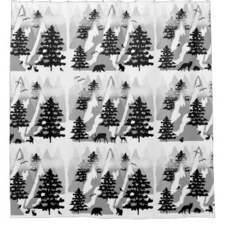 Woodland Forest Mountain Animals Rustic Deer Bear Shower Curtain