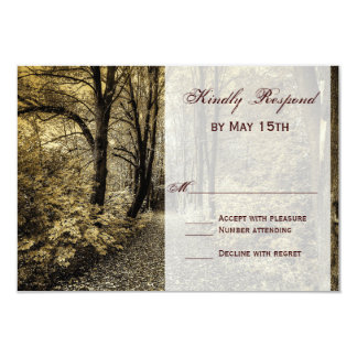 Woodland Forest Trees Rustic Wedding RSVP Cards