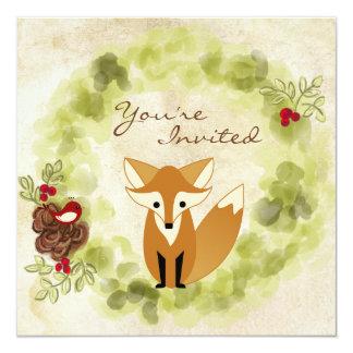 Woodland Fox, Bird and Winter Wreath Baby Shower Card