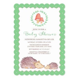 Woodland Hedgehogs Baby Shower Invitation