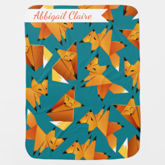 Woodland Origami Paper Fox - Baby's Name Baby Blanket