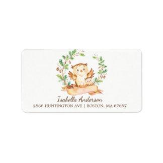 Woodland Owl Baby Shower Address Label