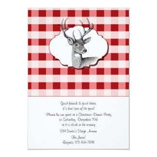 Woodland Red and White Checked Christmas Dinner 13 Cm X 18 Cm Invitation Card