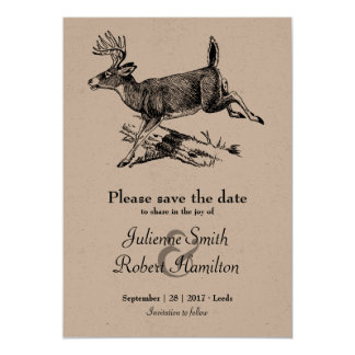 Woodland | Rustic Deer Kraft Paper Save the Date Card