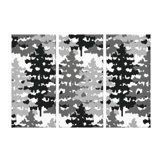 Woodland Rustic Gray Forest Pine Trees Winter Canvas Print