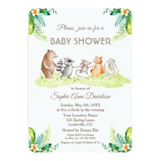 Woodland Tropical Forest Baby Shower Invitation
