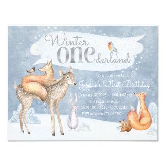 Woodland Winter ONEderland First Birthday Party 11 Cm X 14 Cm Invitation Card