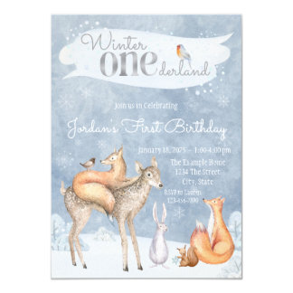 Woodland Winter ONEderland First Birthday Party 11 Cm X 16 Cm Invitation Card