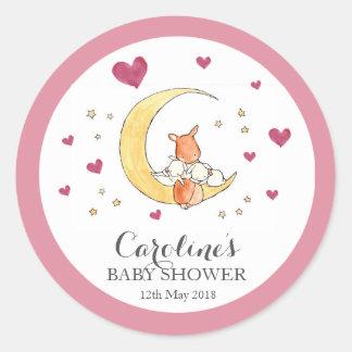 Woodlands Moon Love Pink Baby Shower Sticker Classic Round Sticker