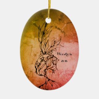 Woodrose Ceramic Oval Decoration