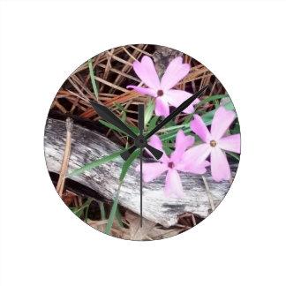 woods in pink round clock