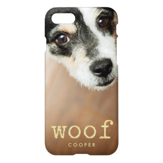 Woof Vintage Gold Typewriter Text for Dog Photo iPhone 7 Case