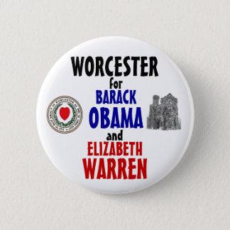 Worcester for Obama and Warren 2012 6 Cm Round Badge