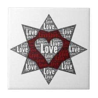 Word Art: Heart in a Star - Love Tile