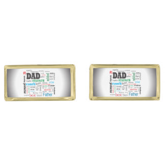 Word Cloud Father Best Dad Gold Finish Cuff Links