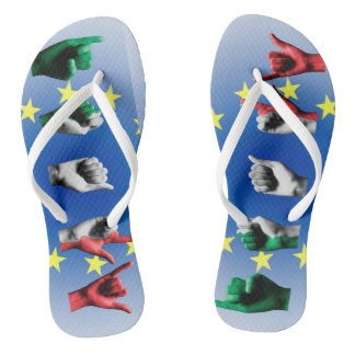 Word Italy over the European Union flag Thongs