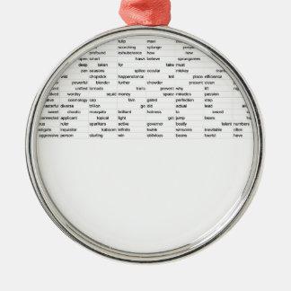 words christmas ornament