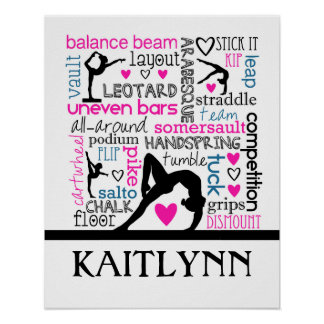 Words of Gymnastics Terminology w/ Monogram Poster