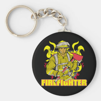 Working Firefighter Basic Round Button Key Ring