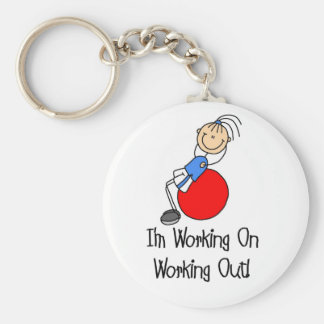 Working on Working Out T-shirts and Gifts Basic Round Button Key Ring