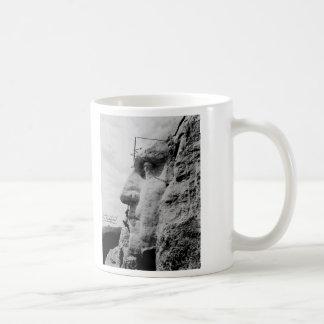 Workmen on George Washington Face Mount Rushmore Coffee Mug