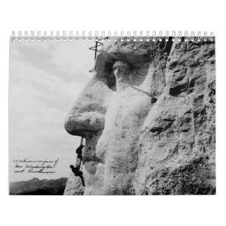 Workmen on George Washington Face Mount Rushmore Wall Calendars