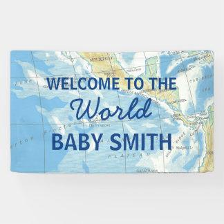 World Awaits Baby Shower Backdrop Banner