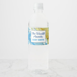 World Awaits Baby Shower Water Bottle Label