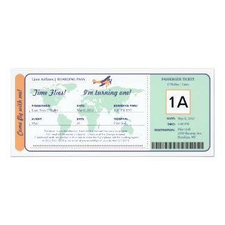 World Map Birthday Boarding Pass Ticket Card