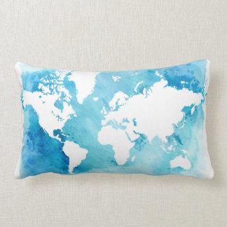 World Map In Watercolor Blues Lumbar Cushion