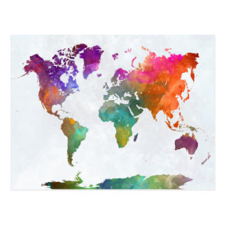 World Map In Watercolor Postcard