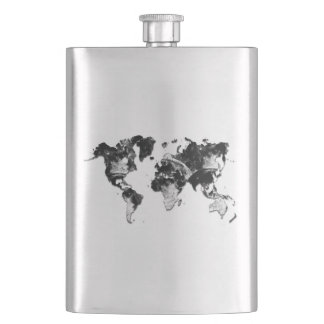 WORLD MAP - Moon Craters Hip Flask